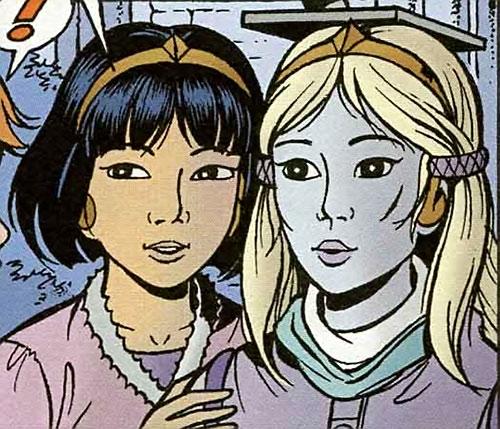 Yoko Tsuno and Khany with telepathy headsets