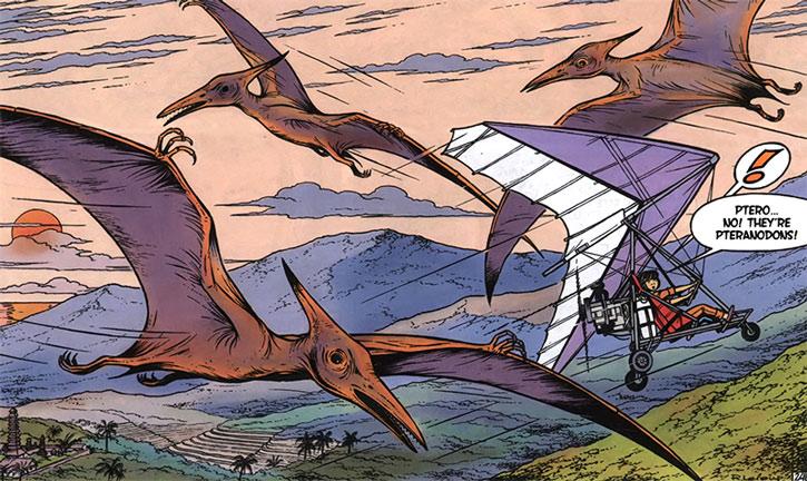 Yoko Tsuno in an ultralight among pteranodons
