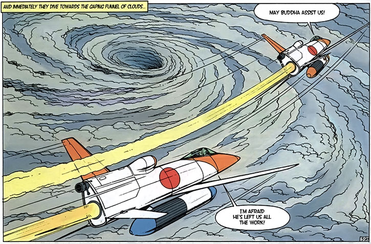 Yoko Tsuno flying a special jet into a typhoon