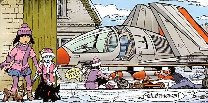 Yoko Tsuno and family working on the Tsar aircraft