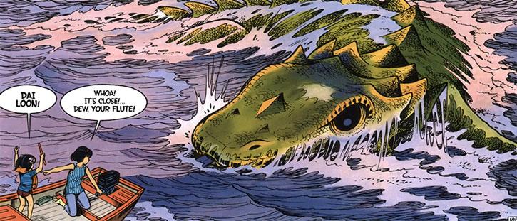 Yoko Tsuno in a small boat runs into a sea monster