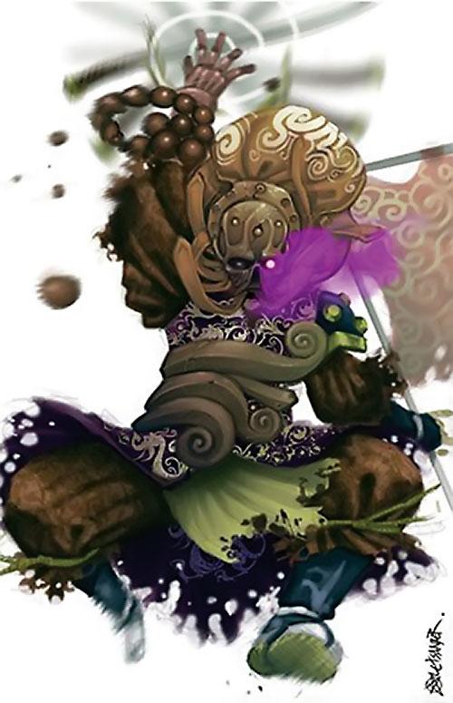 Yoshimitsu (Soul Calibur) leaping and spinning his sword