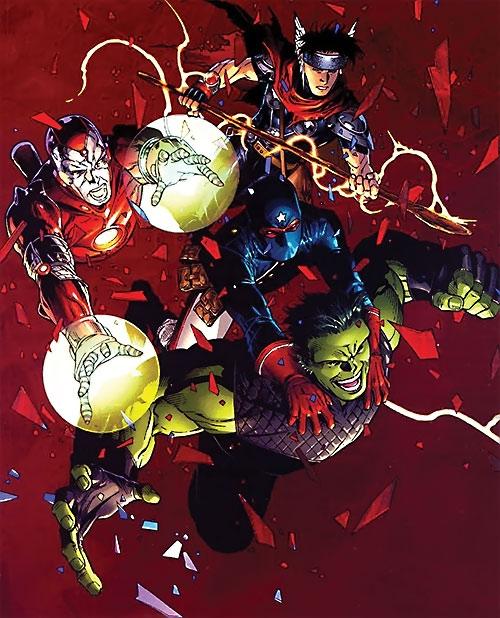 Young Avengers team (Marvel Comics) come crashing through a skylight