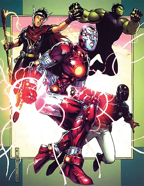 Young Avengers team (Marvel Comics) Iron Lad fronting