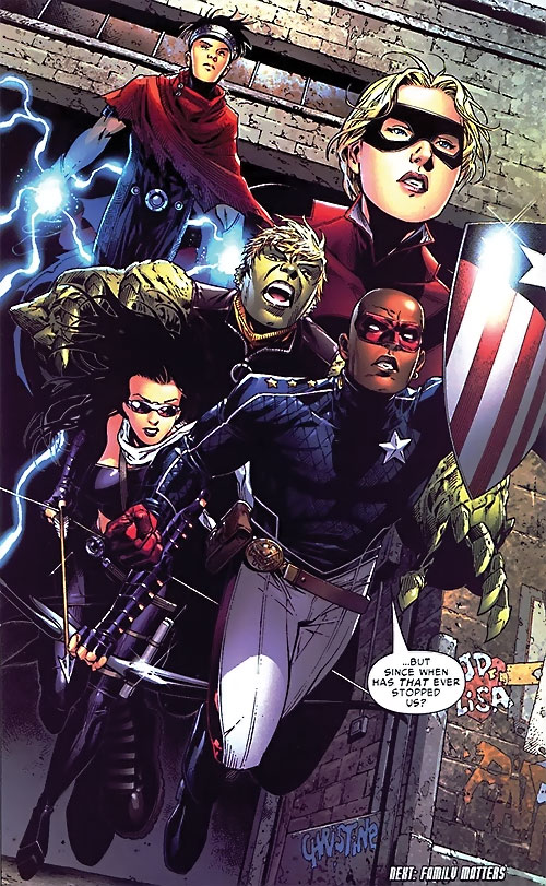 Young Avengers team (Marvel Comics) charging out of a warehouse