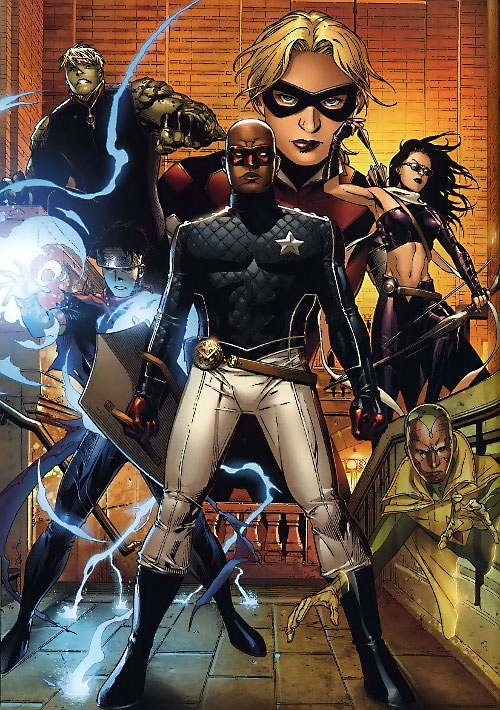 Young Avengers team (Marvel Comics) with Patriot fronting