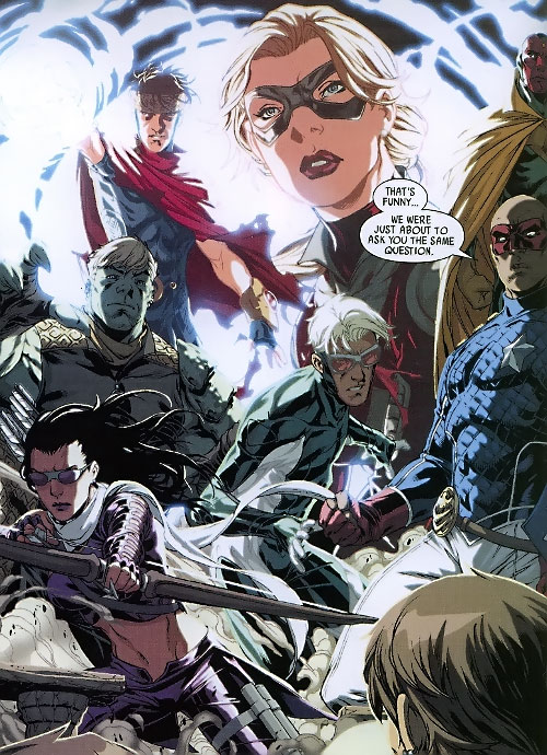 Young Avengers team (Marvel Comics) magically teleport in