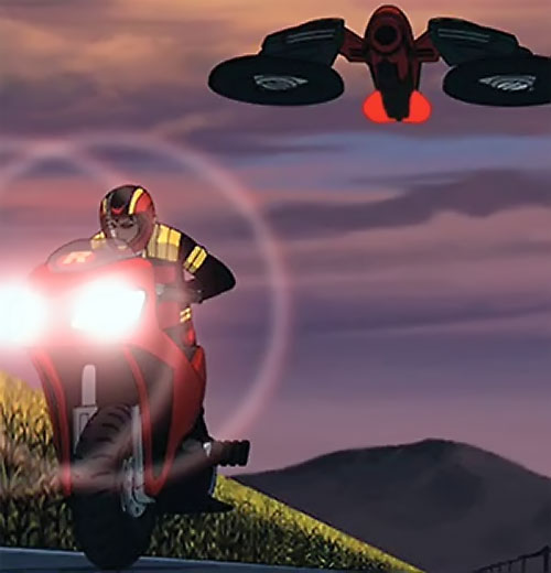 Young Justice cartoon - motorbike and aircraft