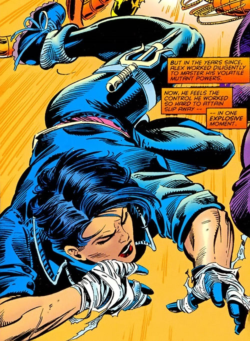 Yukio (Marvel Comics) (Wolverine ally) riding an explosion