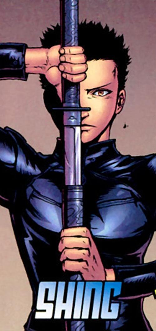 Yukio (Marvel Comics) (Wolverine ally) drawing a katana