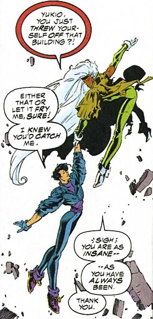 Yukio (Marvel Comics) (Wolverine ally) and Storm flying