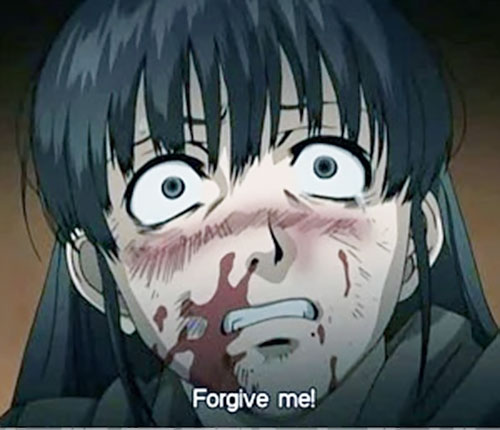Yukio Washimine (Black Lagoon) bloodied and terrified