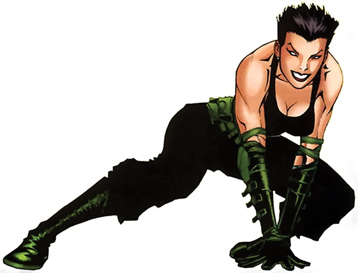 Yukio in black and green, over a white background