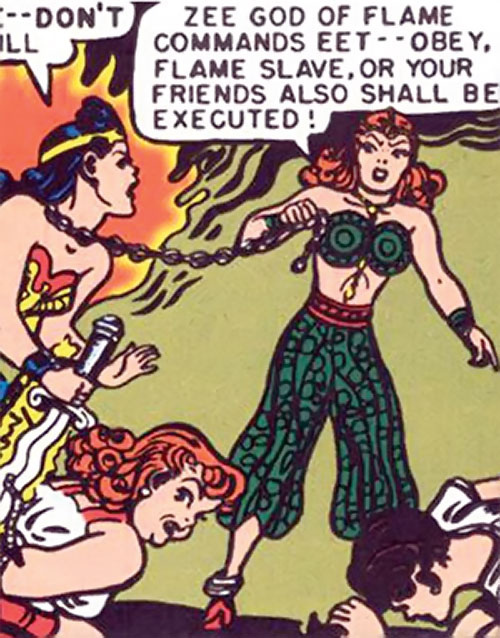 Zara of the Crimson Flame (Wonder Woman enemy) (DC Comics) vs. Diana and Etta