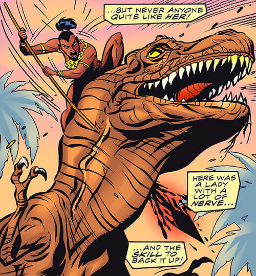Zawadi (Marvel Comics Lost Generation) fighting a dinosaur with a giant spear