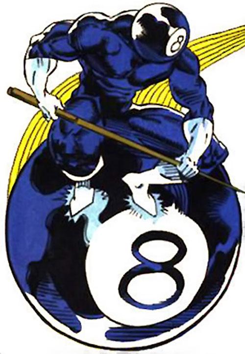 8-ball (Marvel Comics) riding a flying pool ball