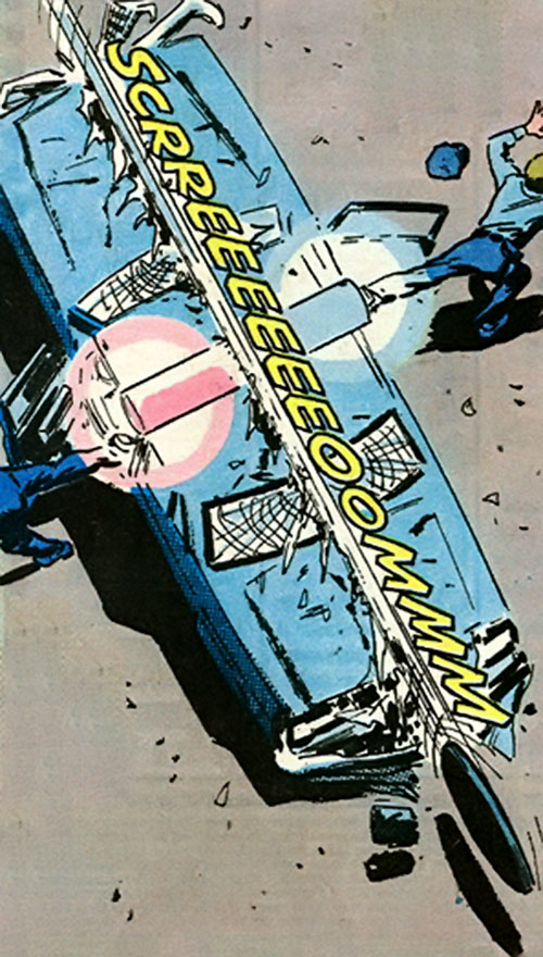 8-ball (Marvel Comics) uses a manhole cover to cleave a police cruiser