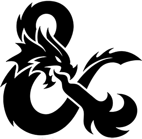 Dungeons & Dragons flame breathing dragon ampersand logo