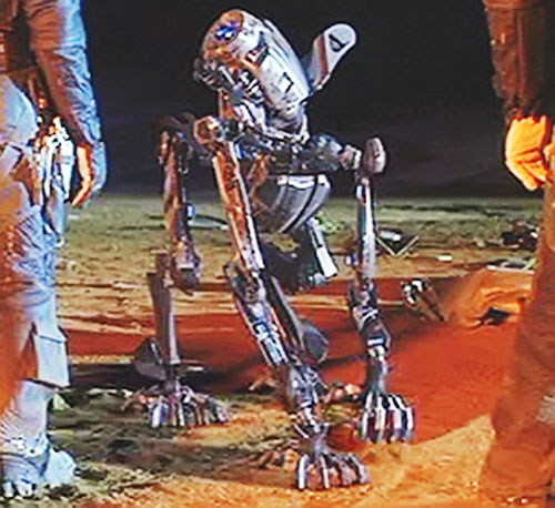 AMEE (Red Planet robot) as a quadruped among the crew