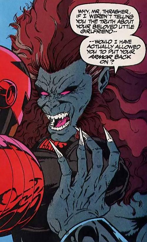 Aardwolf (Night Thrasher enemy) (Marvel Comics) face closeup