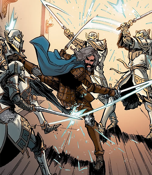 Ser Aaron Hawthorne (Dragon Age: Knight Errant comic) fighting