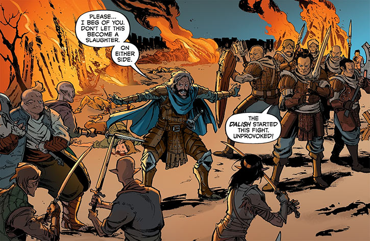 Ser Aaron Hawthorne (Dragon Age: Knight Errant comic) interposing riot