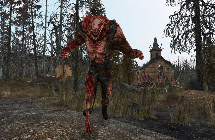 Fallout 3 Abominable Mutant running charging near a church