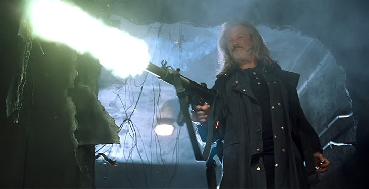 Abraham Whistler (Kris Kristofferson in Blade movies) with a machinegun