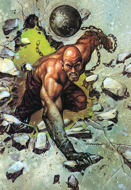 The Absorbing Man bursts through a wall, by Dorman