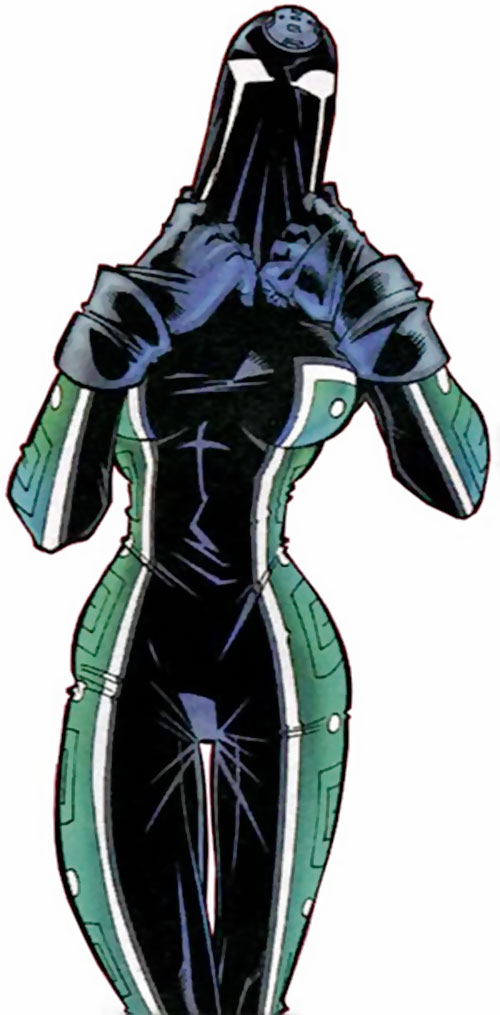 Acrata of Mexico (Superman ally) (Planet DC Comics) putting on her mask