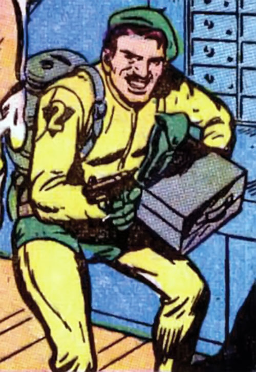 The Acrobat (Human Torch enemy) (Marvel Comics) robs a bank