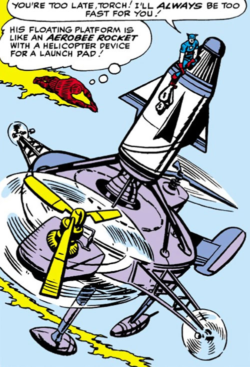 The Acrobat (Marvel Comics) escapes from the Human Torch in an aeropad rocket