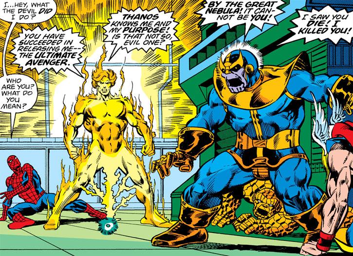 Adam Warlock confronts Thanos as a fire revenant avenger