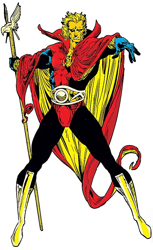Adam Warlock (Marvel Comics) during the 1990s, with the bird head staff