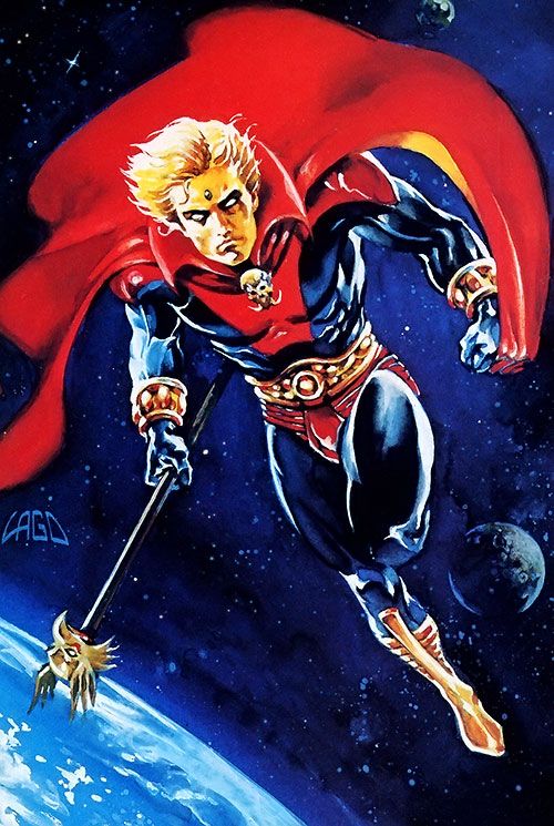 Adam Warlock (Marvel Comics) flying in orbit by Lago