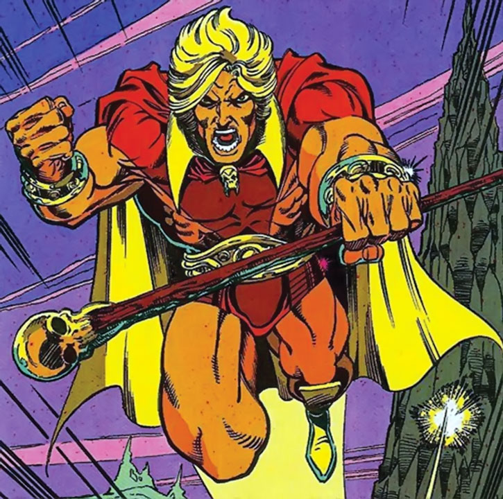 Adam Warlock flying with his skull-tipped staff
