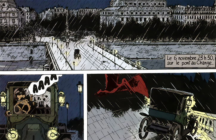 Adele Blanc-Sec - French comics - Tardi - Pterodactyl attacking a taxi