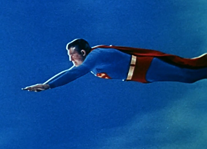Superman flying in color