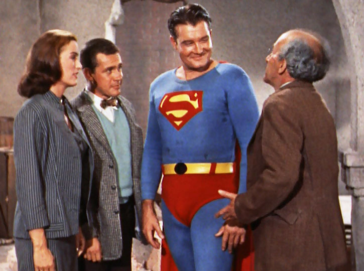Superman (George Reeves) and allies, in color