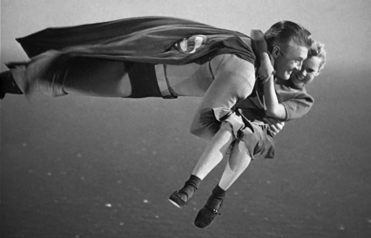 Flying Superman carries a child