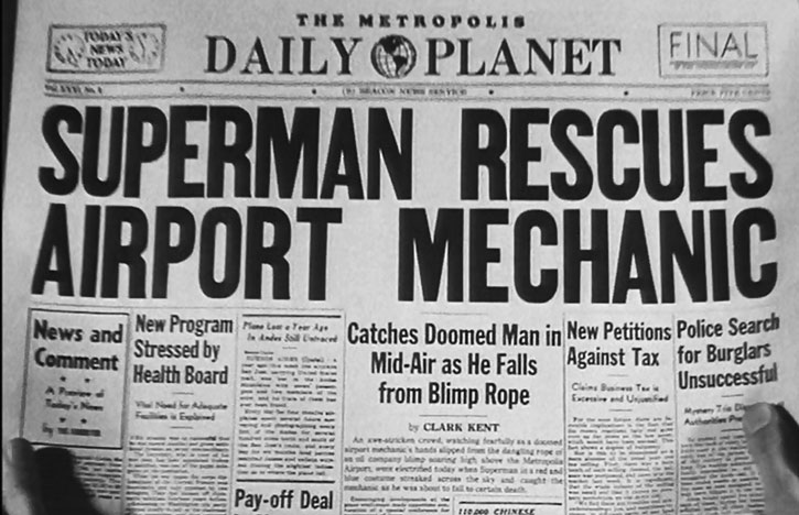 Superman rescues airport mechanic newspaper title