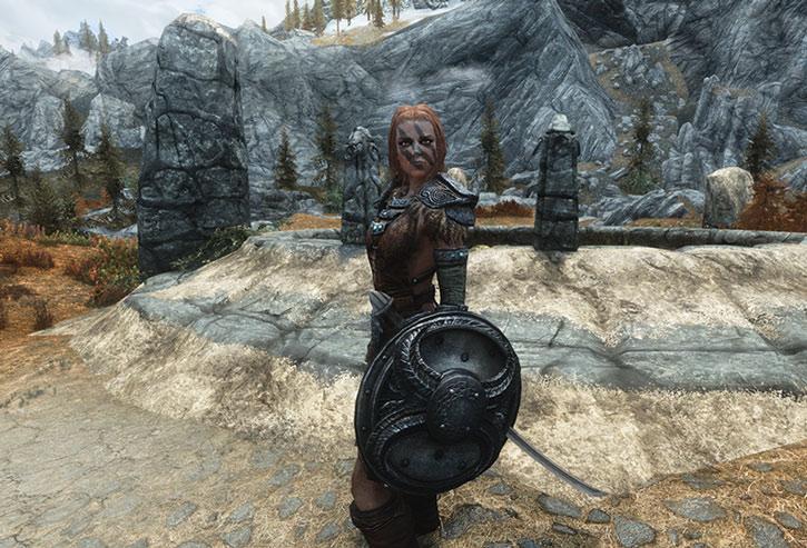 Aela the Huntress wielding her shield