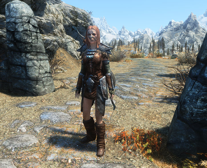 Aela the Huntress on a sunny Skyrim path