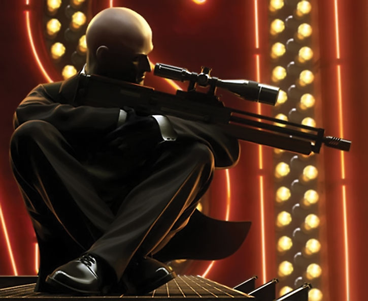 Agent 47 aiming a sniper rifle