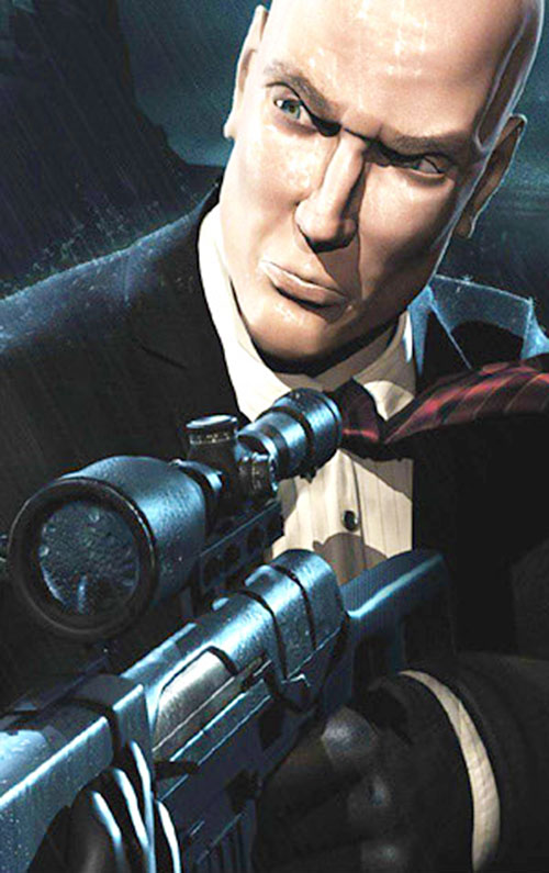 Agent 47 (Hitman) with a scoped gun under the rain
