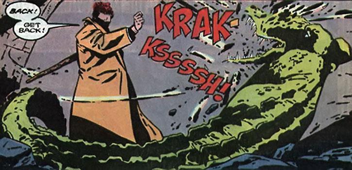 Agent Crock beating back an alligator