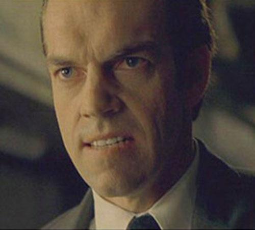 Agent Smith (Hugo Weaving in The Matrix) face closeup
