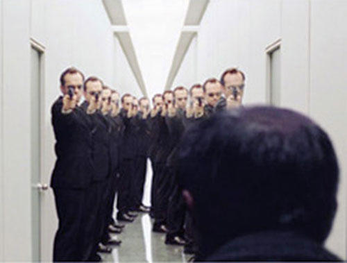 Corridor full of Agent Smiths (Hugo Weaving in the Matrix)