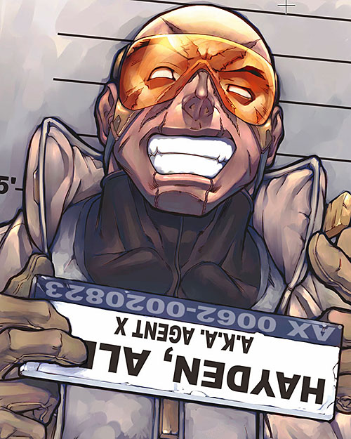 Agent X (Marvel Comics) police ID photo with name plate reversed