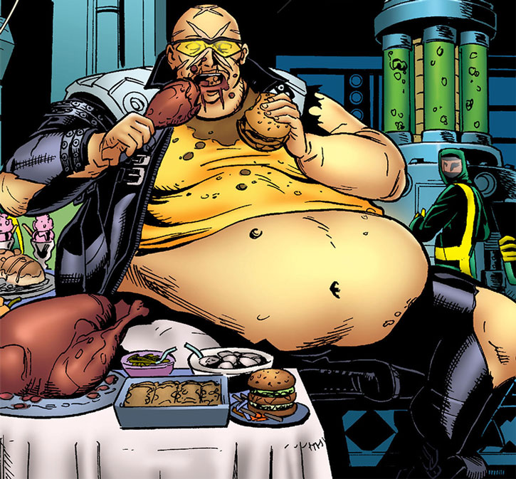 Agent X as an immensely obese man, eating